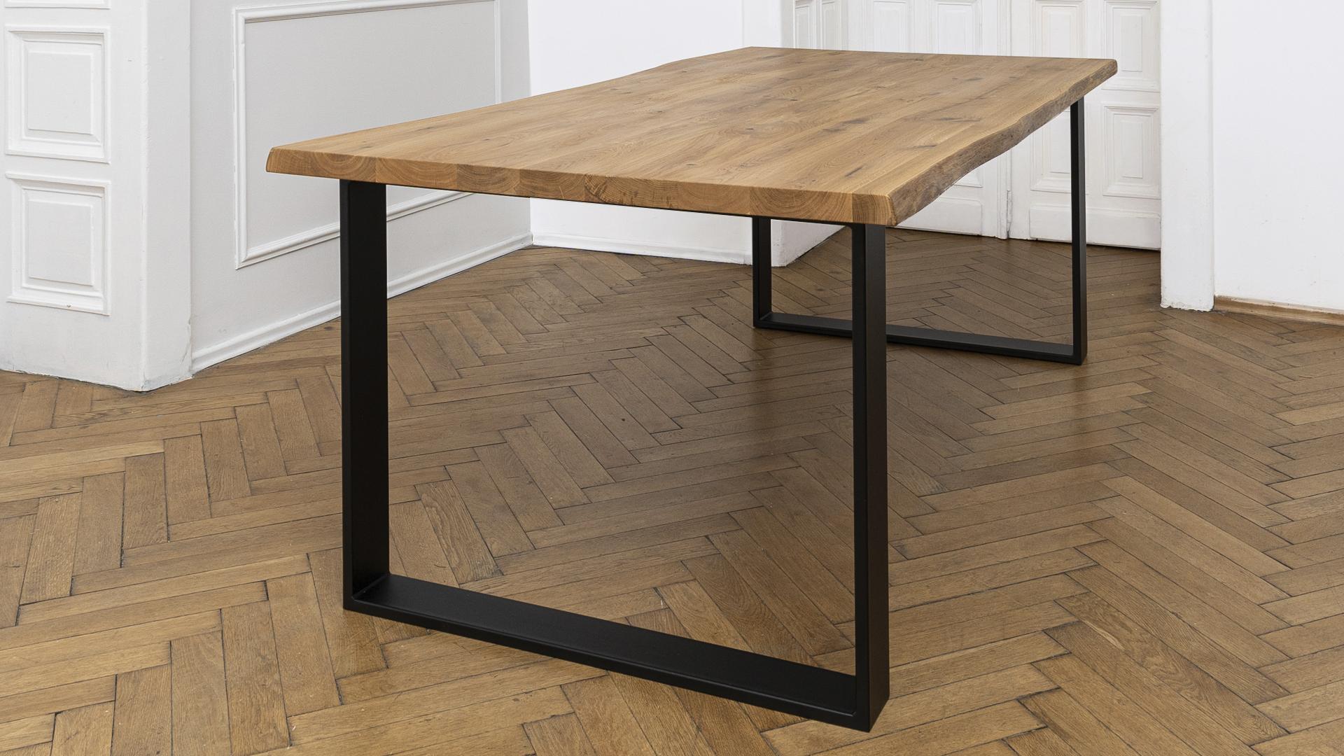 dębowy stół, noga czarna