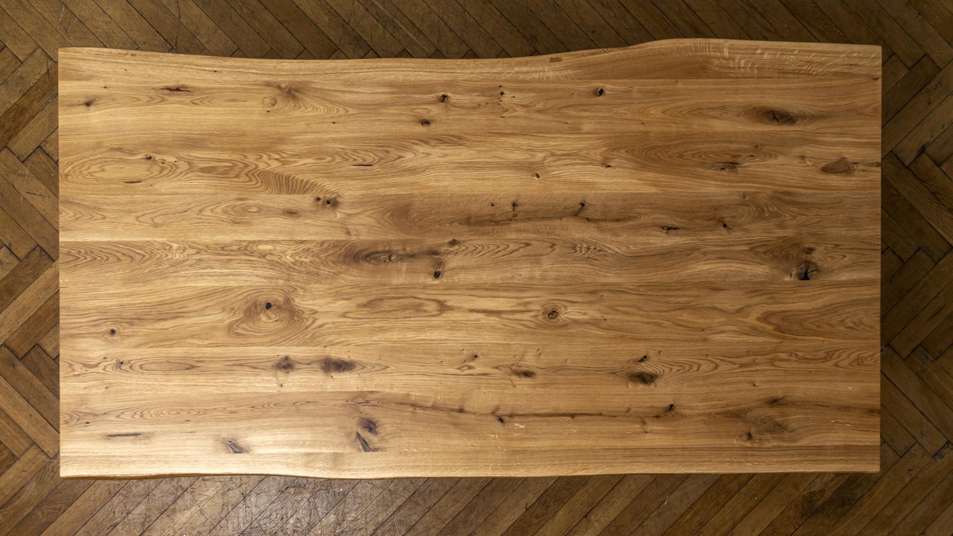 Industrialny stół z blatem dębowym litym