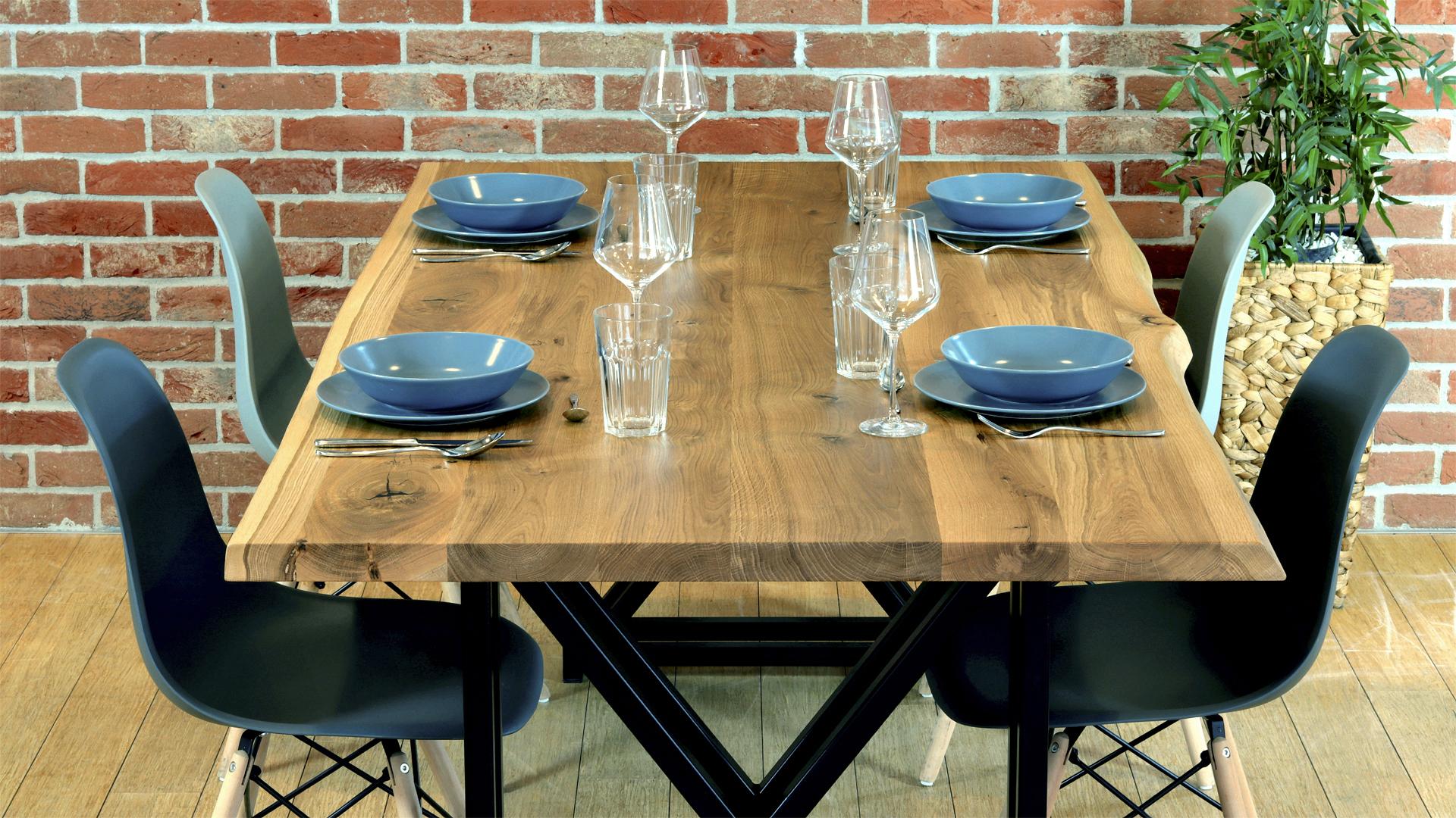 Stół loftowy z drewnianym blatem Argo Woodcraft