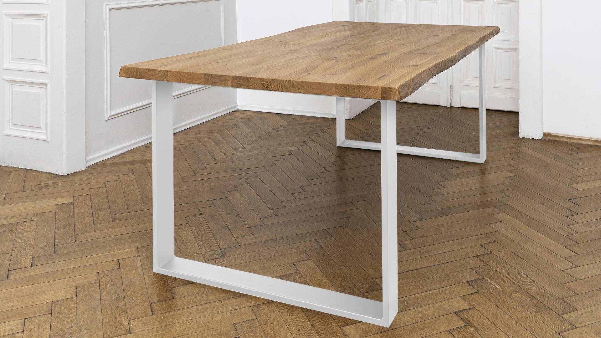 dębowy stół, noga biała