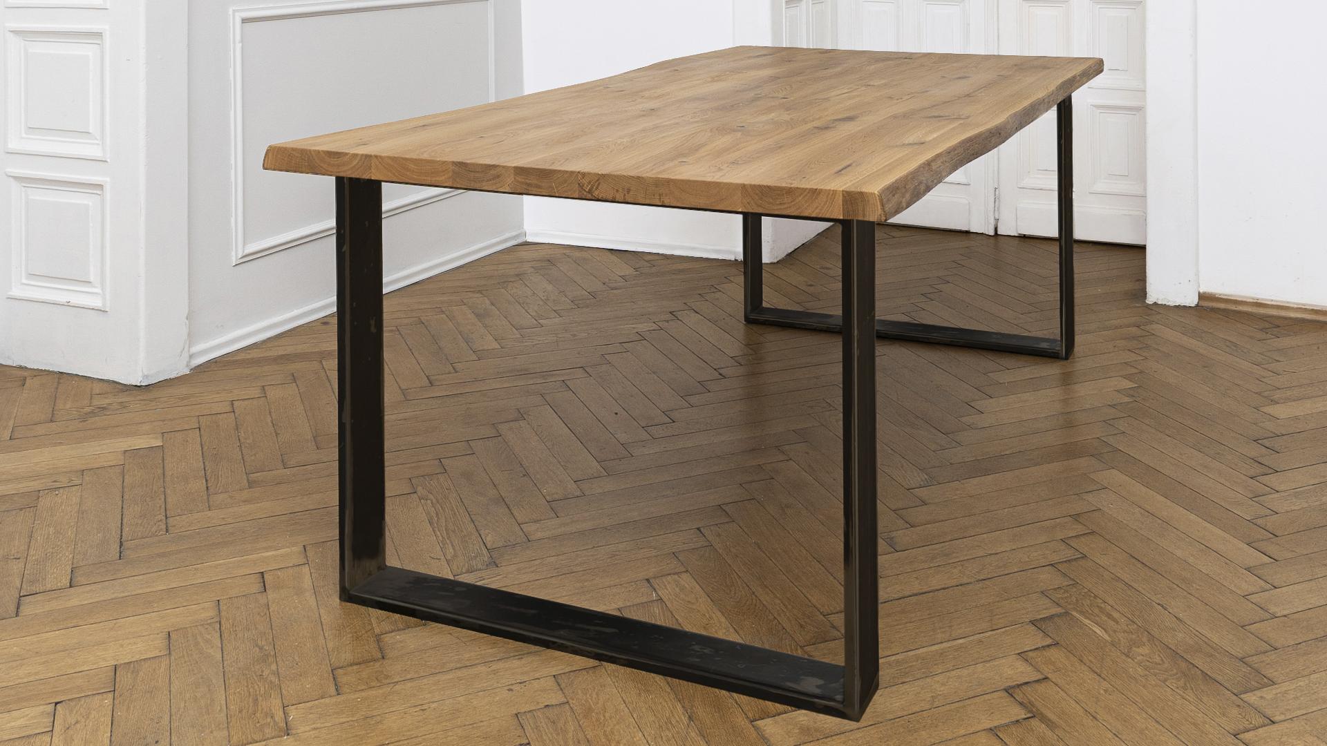 dębowy stół, noga stalowa