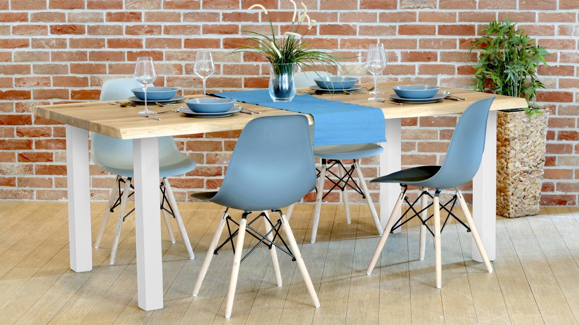 Drewniany stół industrialny nogi białe