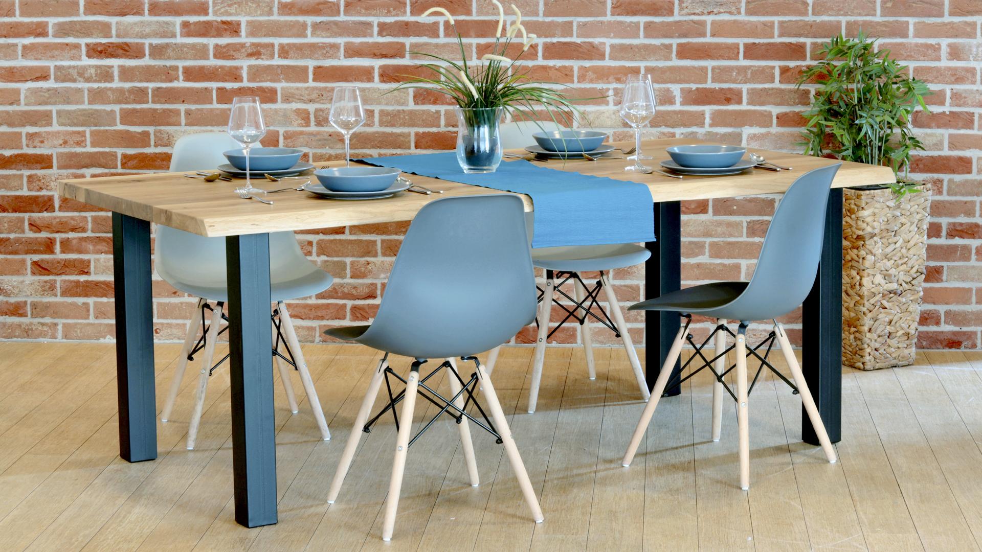 Drewniany stół industrialny nogi czarne